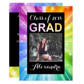 2018年の写真の卒業の鮮やかな虹のクラス カード