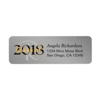 2018年の卒業のモノグラムの金ゴールドのタイポグラフィのクラス ラベル