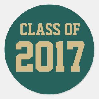 2018年の卒業の編集可能緑金ゴールドのクラス ラウンドシール