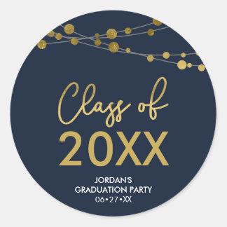 2018年の卒業パーティーの模造のな金ゴールドライトクラス ラウンドシール