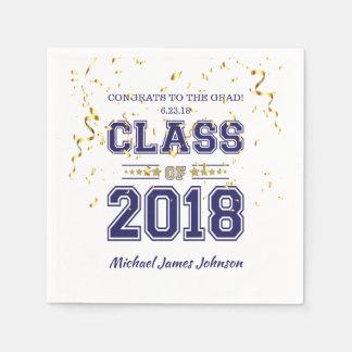 2018年の卒業生のパーティーの青および金ゴールドのクラス スタンダードカクテルナプキン