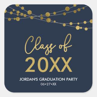2018年の卒業生のパーティーの青く模造のな金ゴールドライトクラス スクエアシール