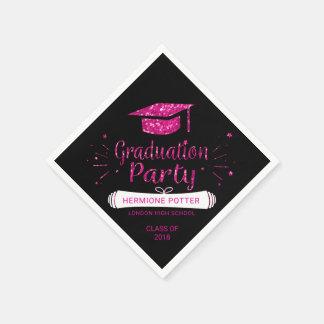 2018年の卒業生の帽子のピンクの卒業パーティーの紙のクラス スタンダードカクテルナプキン