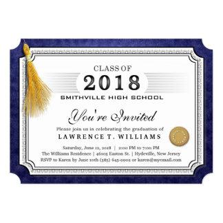 2018年の濃紺の免状の金ゴールドのふさの卒業 カード