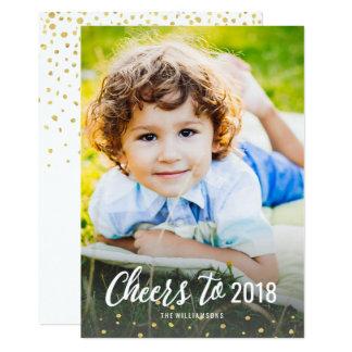 2018年の金ゴールドの紙吹雪の写真への新年の応援 カード