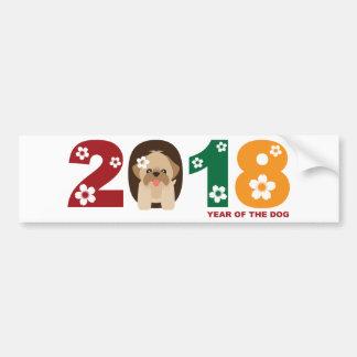 2018旧正月のシーズー(犬)のTzu犬のイラストレーション バンパーステッカー