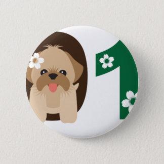 2018旧正月のシーズー(犬)のTzu犬のイラストレーション 缶バッジ