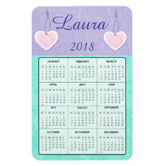2018紫色およびティール(緑がかった色)の小型カレンダーの名前の磁石 マグネット