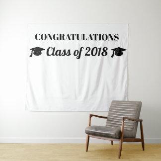 2018黒いタイポグラフィ|の写真の背景のクラス タペストリー