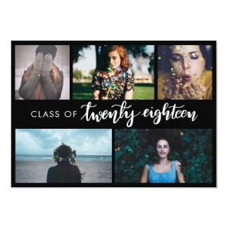 2018%のpipe%モダンな黒の卒業生5の写真のクラス カード