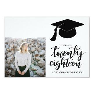2018%のpipe%手書きの卒業生の帽子の写真のクラス カード