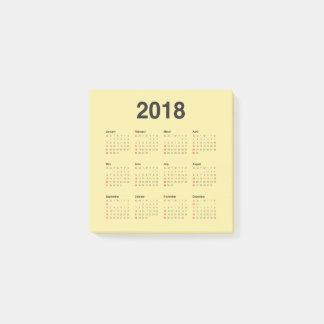 2018 Calendar ポストイット