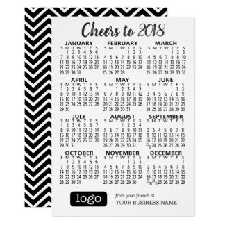 2018 Calendar w/ Business Name & Logo Black White カード