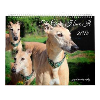 2018 GREYHOUND DOG CALENDAR カレンダー