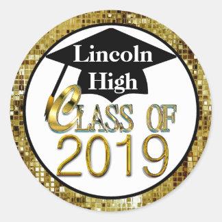 2019年のきらめくな金ゴールドの卒業のシールのクラス ラウンドシール