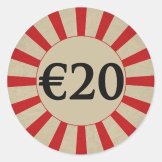 €20 (ヨーロッパの)円形の光沢のある値段 ラウンドシール