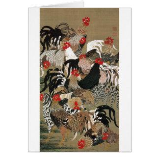 20. 群鶏図、オンドリの若冲の群、Jakuchu カード