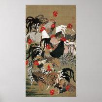 20. 群鶏図、オンドリの若冲の群、Jakuchu ポスター