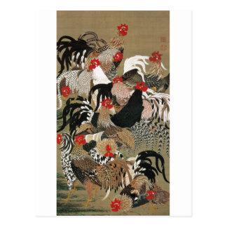 20. 群鶏図、オンドリの若冲の群、Jakuchu ポストカード