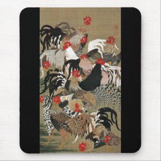 20. 群鶏図、オンドリの若冲の群、Jakuchu マウスパッド