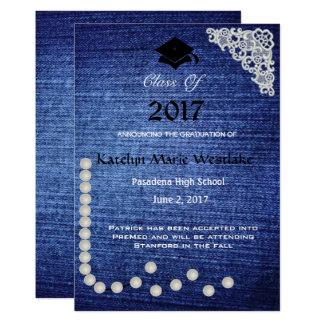20XXデニム、レース及び真珠の卒業の発表 カード