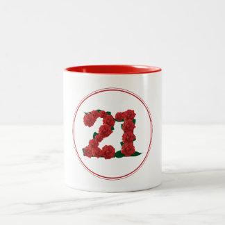 21の数第21誕生日記念日の赤のマグ ツートーンマグカップ