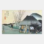 21. 丸子宿、広重Maruko-juku、Hiroshige、Ukiyo-e 長方形シール・ステッカー