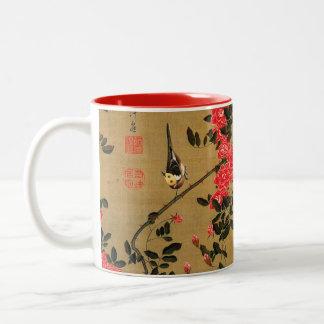 21. 薔薇小禽図、若冲のバラ及び小さい鳥、Jakuchū ツートーンマグカップ