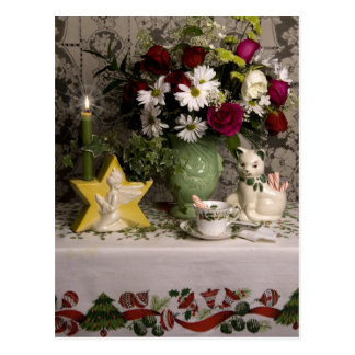 2218花柄の静物画のクリスマス ポストカード