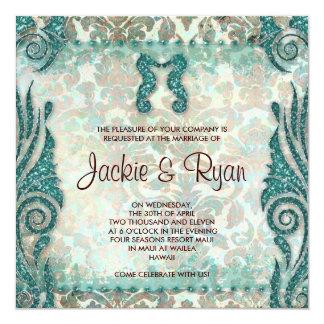 232のビーチ結婚式の招待状のタツノオトシゴのヴィンテージのティール(緑がかった色) カード