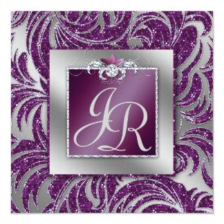 232エレガントな結婚式の葉の花の紫色の輝き 13.3 スクエアインビテーションカード