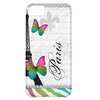 232パリエッフェル塔のピンクの蝶携帯電話 iPhone5Cケース