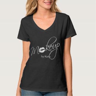 232化粧のTシャツの美容師の黒のユニフォーム Tシャツ