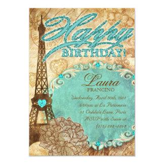 232青い菓子16のパリエッフェル塔のヴィンテージの花 カード
