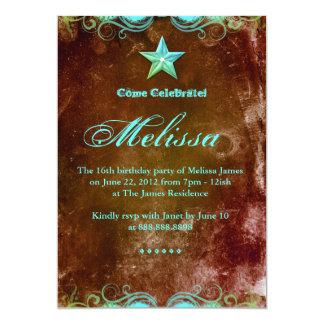 233菓子16の招待状の茶色がかった鋼色の西部の星 12.7 X 17.8 インビテーションカード