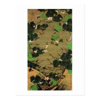 23. 池辺群虫図、池、Jakuchūが付いている若冲の生きている存在 ポストカード