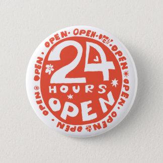 24時間は開きます 5.7CM 丸型バッジ
