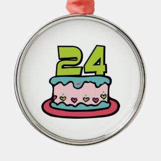 24歳のお誕生日ケーキ メタルオーナメント