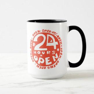 24 Hrsは開きます マグカップ