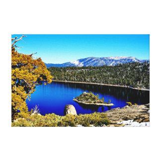 """24"""" X 16""""湾のタホ湖の美しいエメラルドキャンバス キャンバスプリント"""