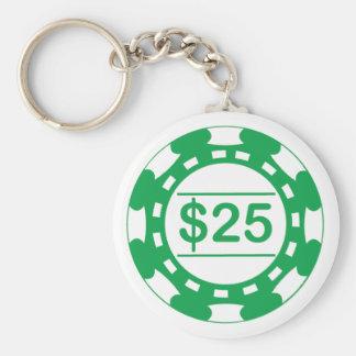 $25の種類のカジノの破片の緑Keychain キーホルダー