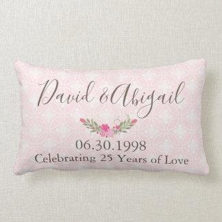 25年の結婚記念日のかわいらしいピンク ランバークッション