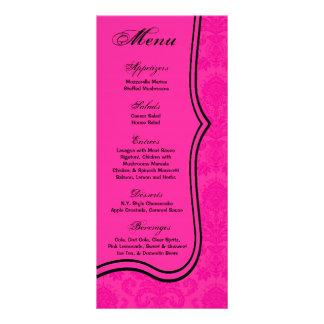 25枚のメニューカードショッキングピンクの黒のダマスク織のレースのプリント ラックカード