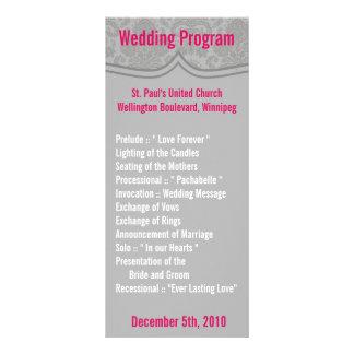 25 4x9結婚式プログラムのモダンな灰色のダマスク織のレース ラックカード