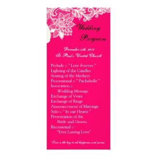 25 4x9結婚式プログラムのヴィンテージのビクトリアンなレースのピンク ラックカード
