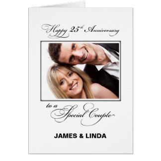 25th Wedding Anniversary Custom Name & Photo カード