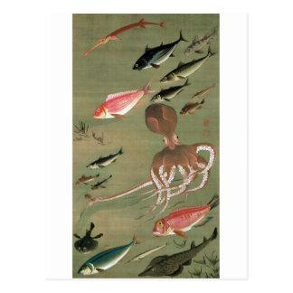 27. 諸魚図、若冲のさまざまな魚、Jakuchūの日本芸術 ポストカード