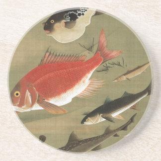 28. 群魚図、若冲のさまざまな魚、Jakuchūの日本芸術 コースター
