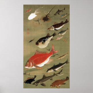 28. 群魚図、若冲のさまざまな魚、Jakuchūの日本芸術 ポスター