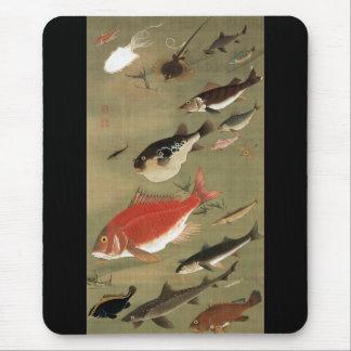 28. 群魚図、若冲のさまざまな魚、Jakuchūの日本芸術 マウスパッド